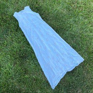 Blue floral silky satin maxi flowy dress md lg